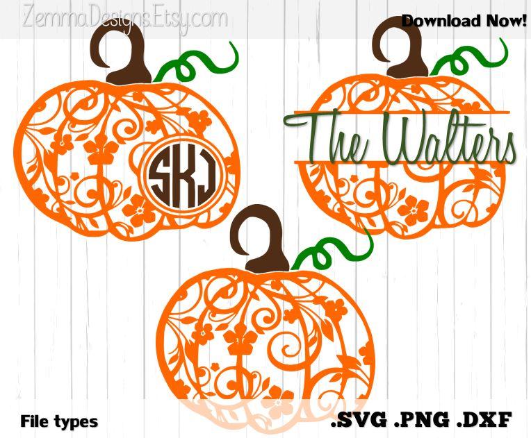 pumpkin flourish halloween bundle file types   dxf  svg   png silhouette studio