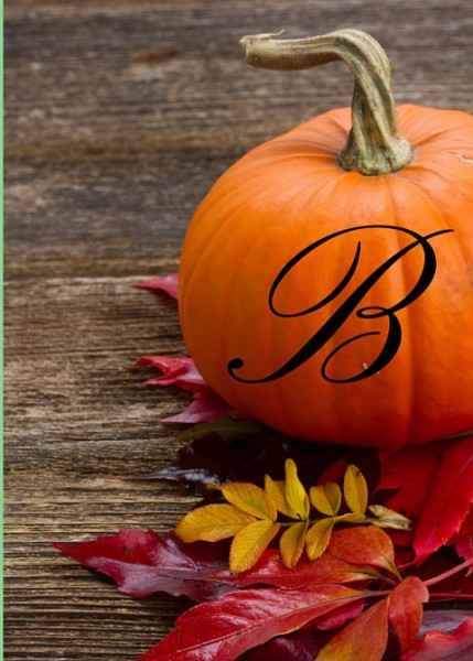 monogrammed initial decal for fall pumpkin