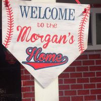Welcome to the Morgans home plate sign door hanger